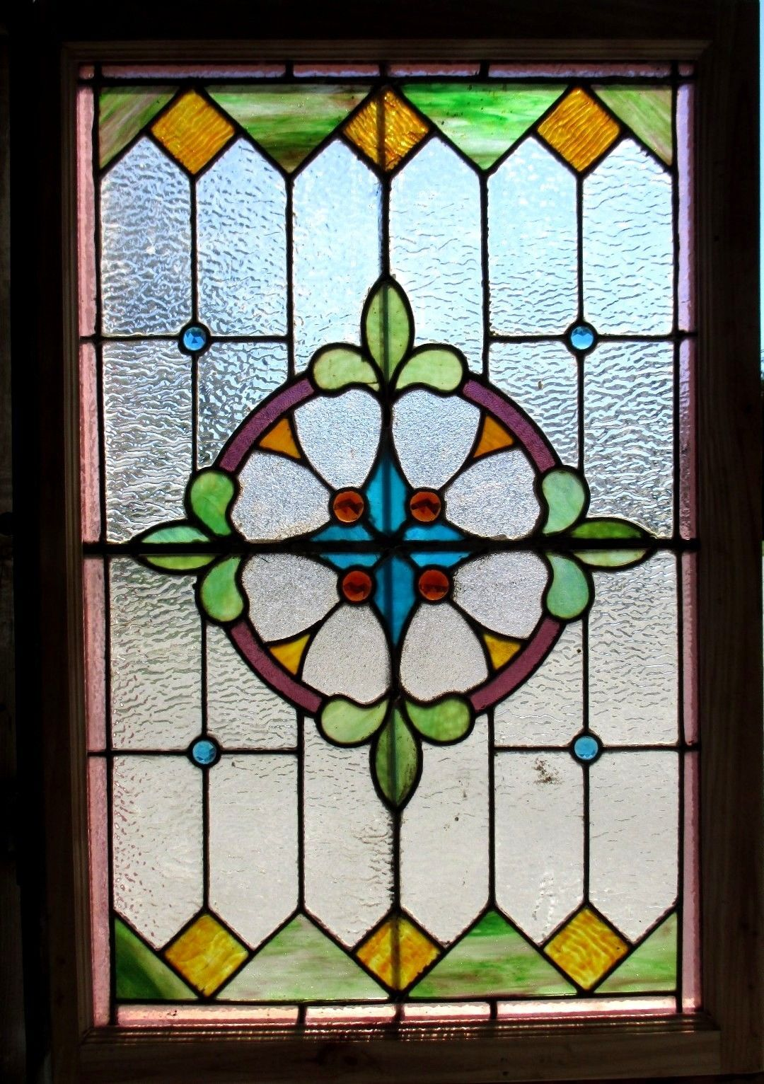 Antique american stained glass window 27 5 x 40 5 for American window design