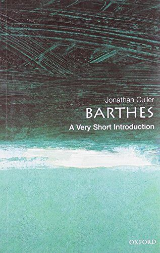 Barthes A Very Short Introduction By Jonathan Culler Comparative Literature Introduction Literature