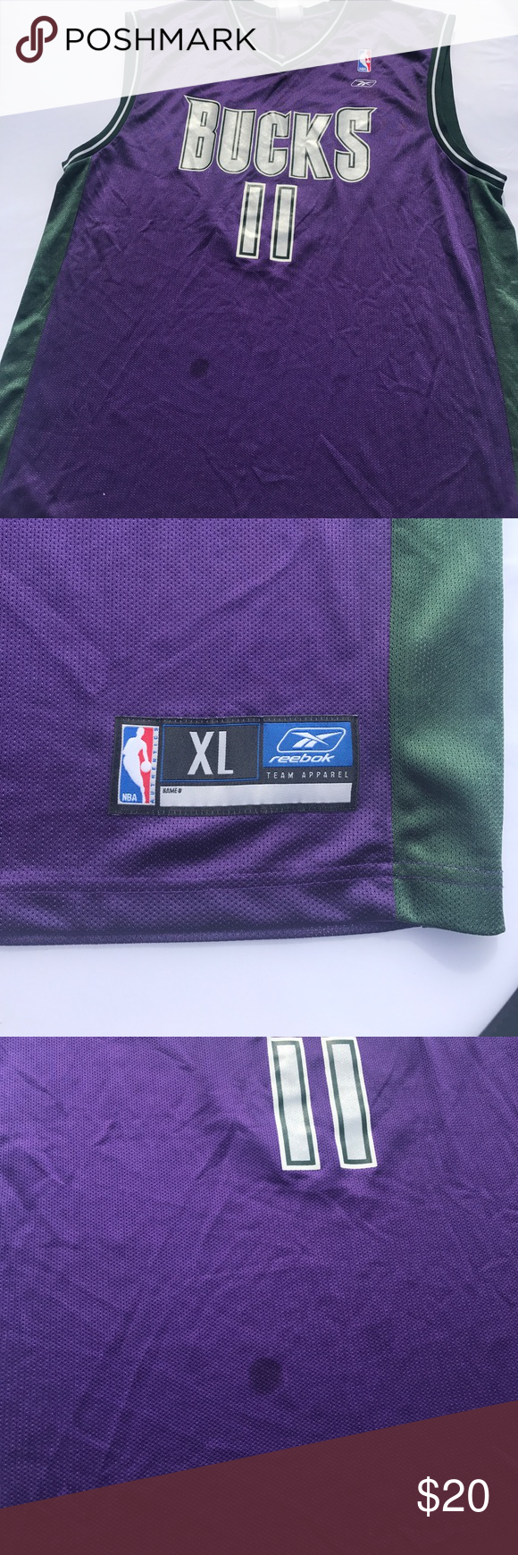 4b42bdc09aa Nba Milwaukee bucks t j ford 11 purple reebok Xl Milwaukee bucks purple a  couple of stains but overall great jersey patches in great condition Reebok  ...