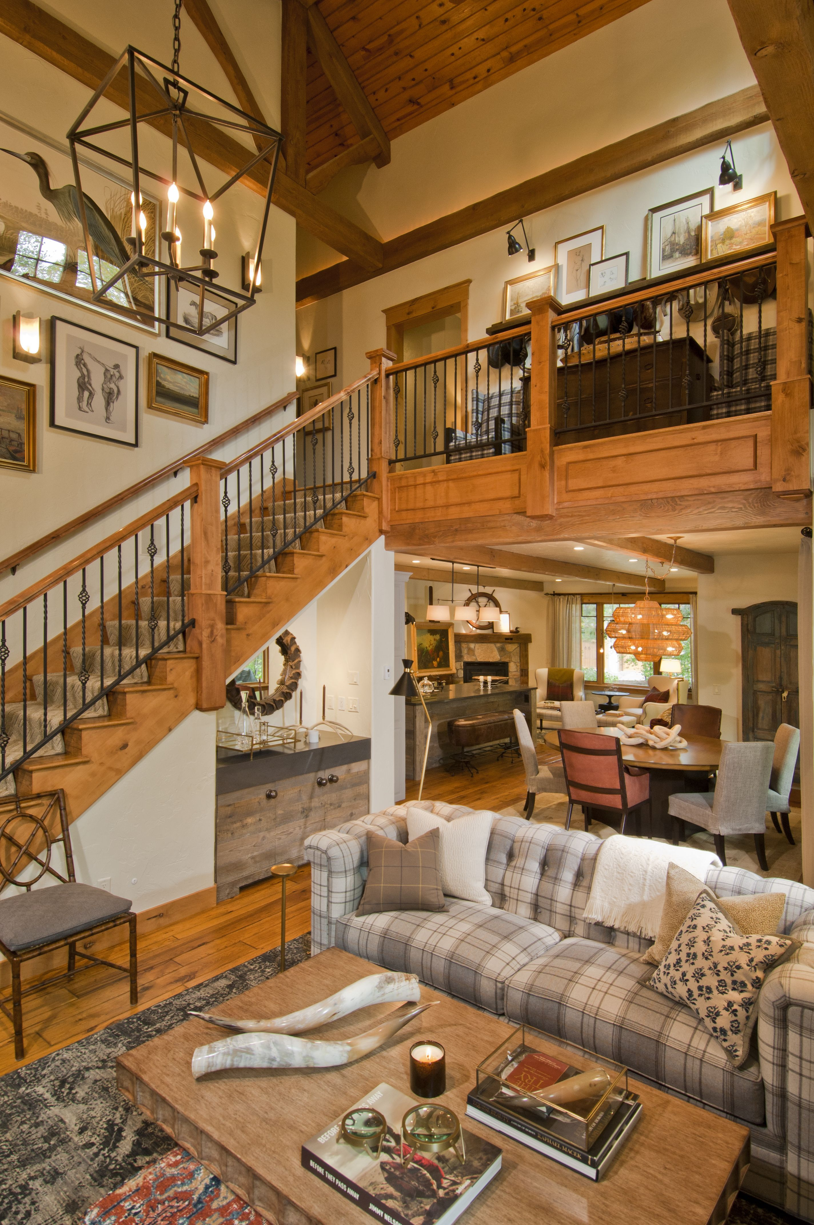 Living Room Great Room Mountain Home Rustic Eclectic Plaid