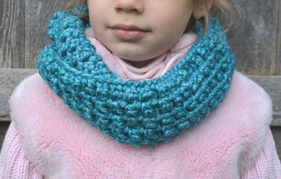 Wool Blend Skinny Turquoise Cowl Scarf Handmade by FarahsAttic, $12.00