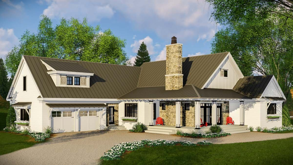 An eye catching metal roof and shed dormer enhance the appearance of this modern farmhouse house plan the impressive vaulted ceiling runs front to back