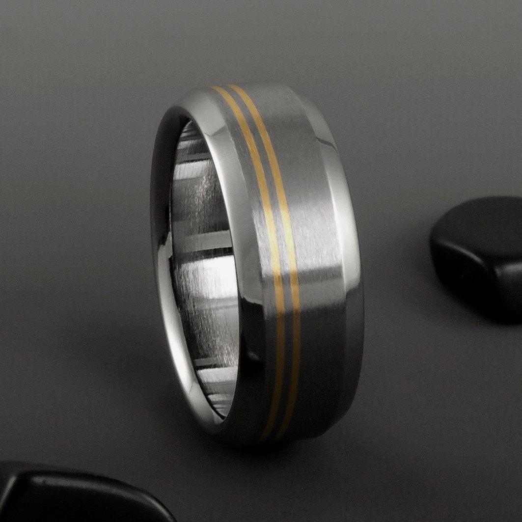 Anium Gold Ring Yellow Mens Womens Wedding Band Engagement