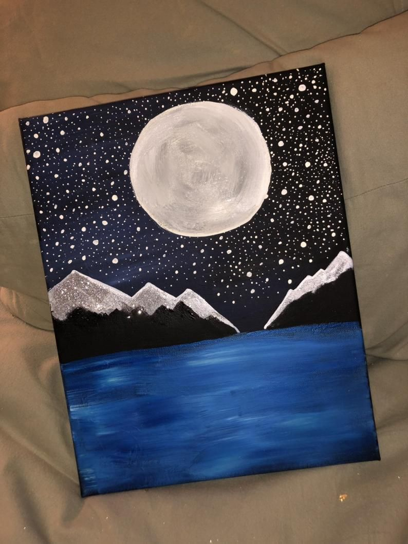 Starry Night In The Mountains In 2020 Simple Canvas Paintings Canvas Art Painting Easy Canvas Art