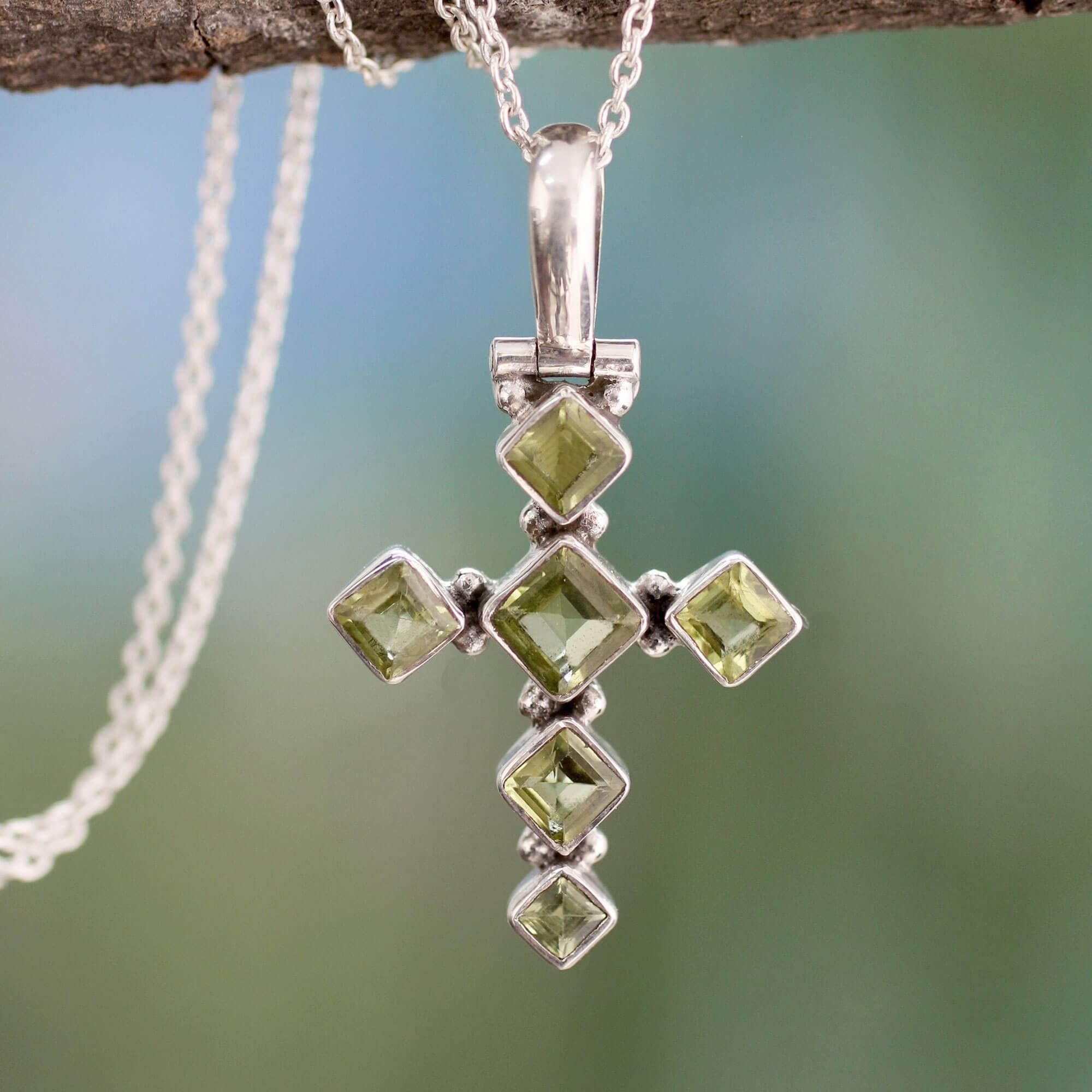 Peridot and sterling silver cross necklace silver cross necklaces handcrafted peridot and sterling silver cross necklace mozeypictures Gallery