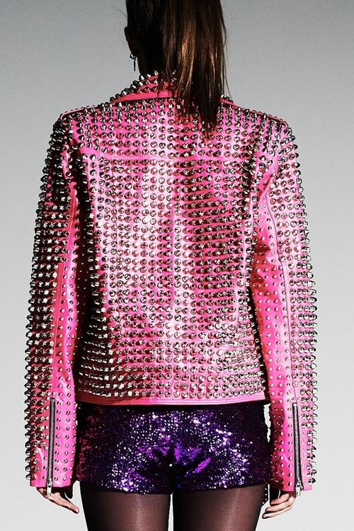 pink leather studs and bling shorts