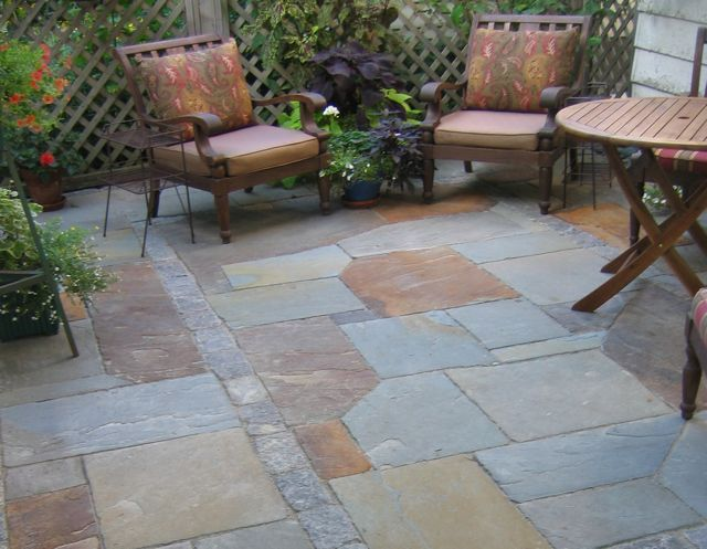 Full Color Bluestone Patio (custom Cut Mosaic) With Granite Cobble Banding    Great