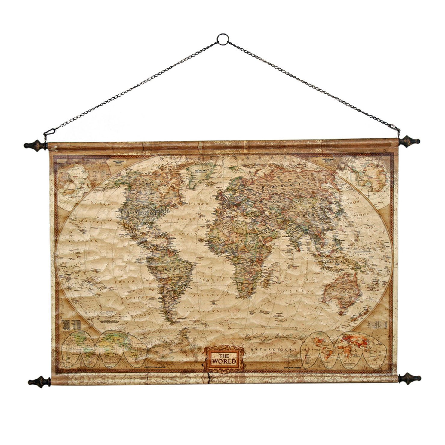 Scroll World Map Wall Hanging | ACHICA | Wall decor | Pinterest ...