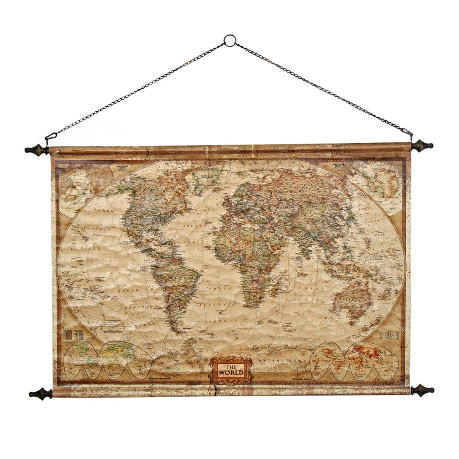 Scroll World Map Wall Hanging | ACHICA | Wall decor | Pinterest ...
