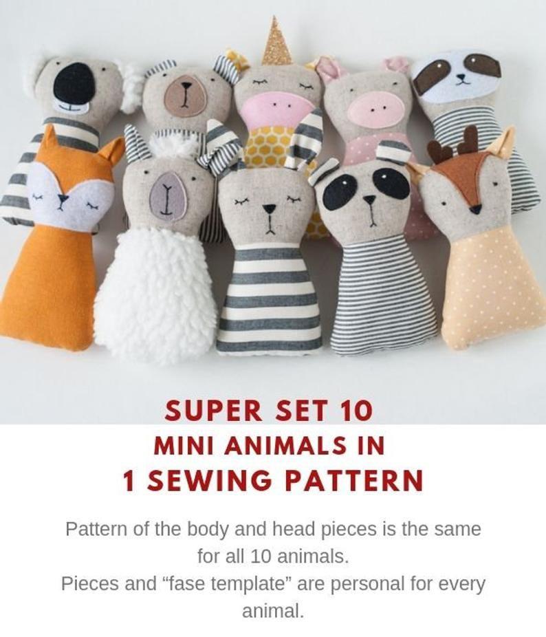 10 animaux poupée patrons de couture PDF tutoriel animaux en peluche jouets faits à la main tissu Animal cadeau SVG coupe fichiers SVG patrons de couture   – Baby