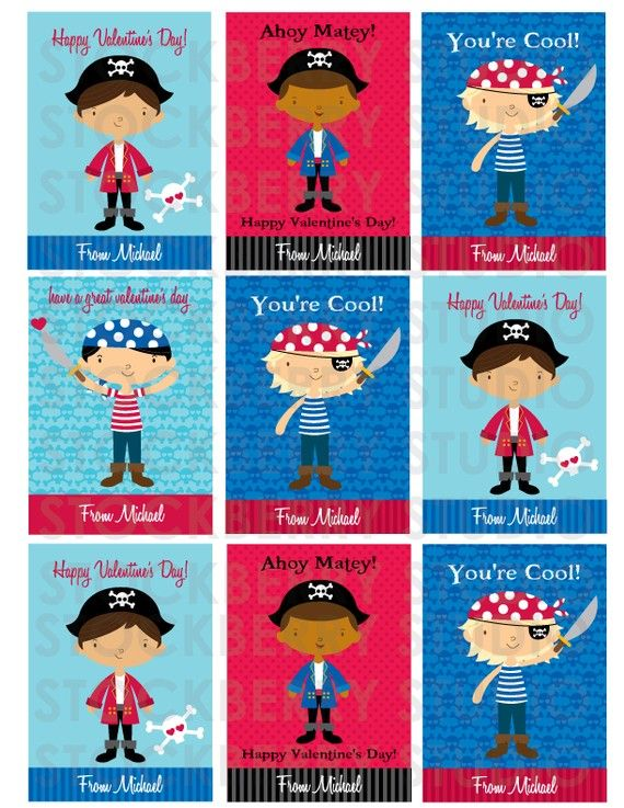 pirate valentine's day card personalized - boy valentine kids, Ideas