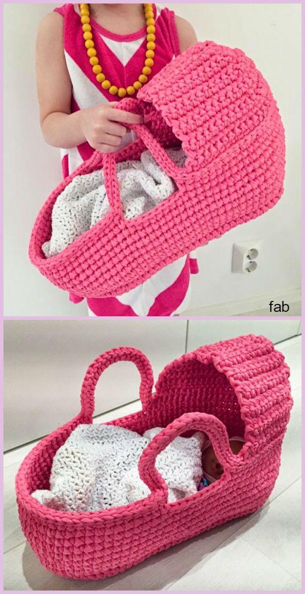 Crochet Cradle Basket Baby Carrier Free Pattern | Patrón libre, Bebé ...