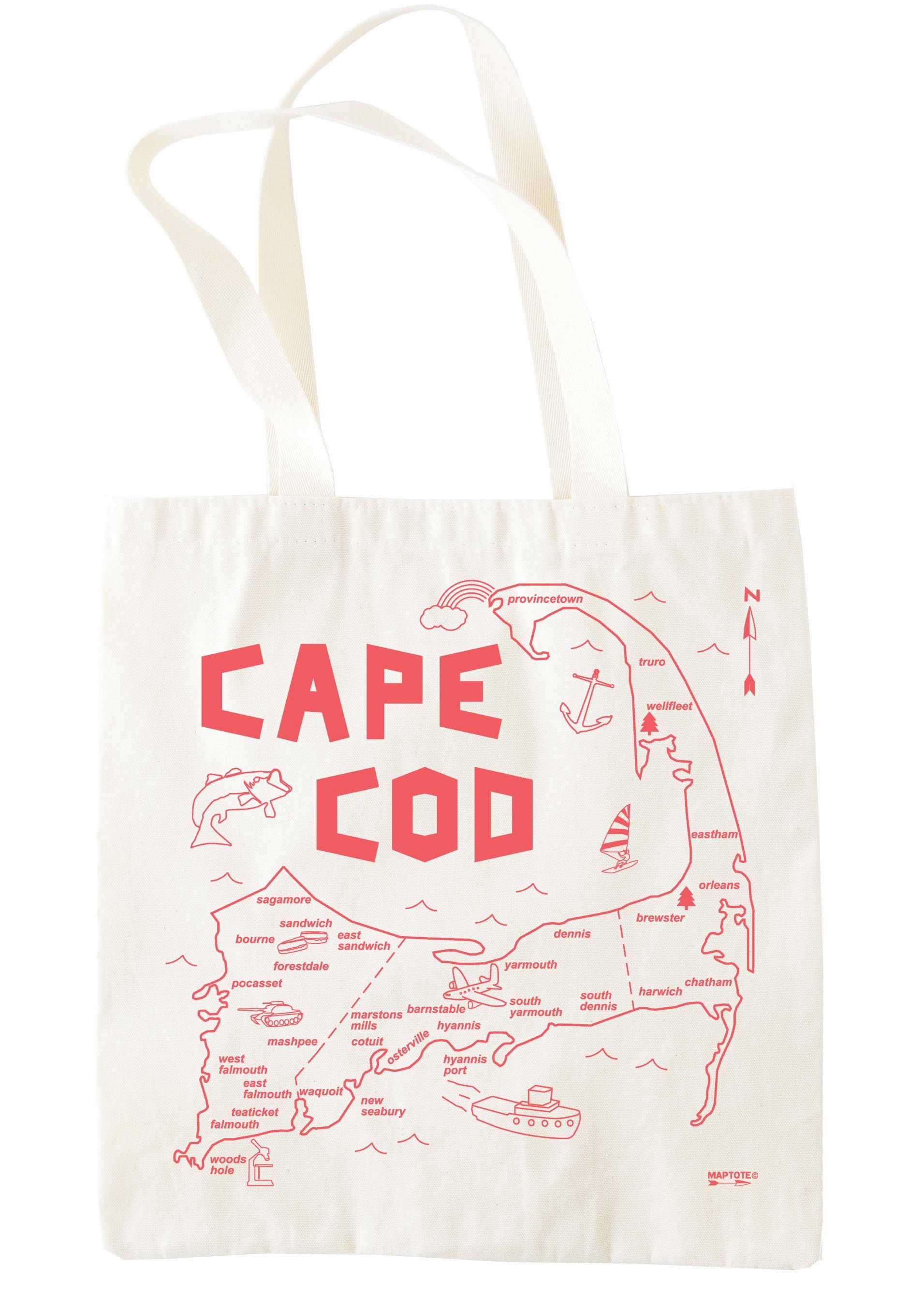 Cape Cod Grocery Tote Maptote Grocery tote, Tote, Map tote