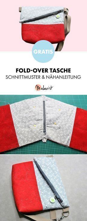 Gratis Anleitung: Fold-Over Schultertasche nähen - Schnittmuster und ...