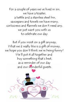 Poems Wedding Invitations Asking Money Google Search