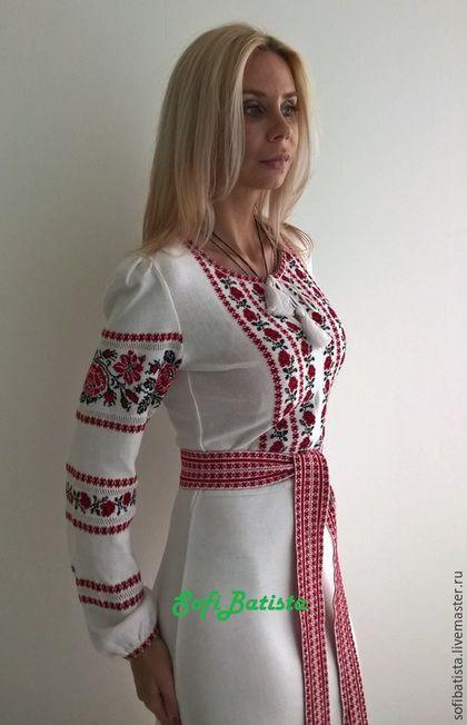45924a3f31f Платья ручной работы. Ярмарка Мастеров - ручная работа. Купить Трикотажное  платье в славянском стиле. Handmade. Белый