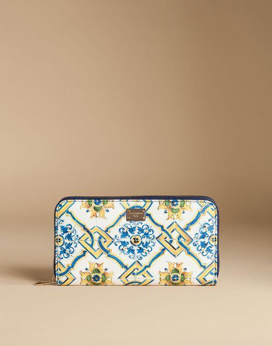 8dd55f1936 Dolce & Gabbana ZIP AROUND WALLET IN PRINTED DAUPHINE LEATHER, Wallet Women    DG Online Store, D&G