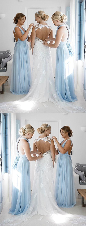 Simple light blue chiffon long bridesmaid dress in