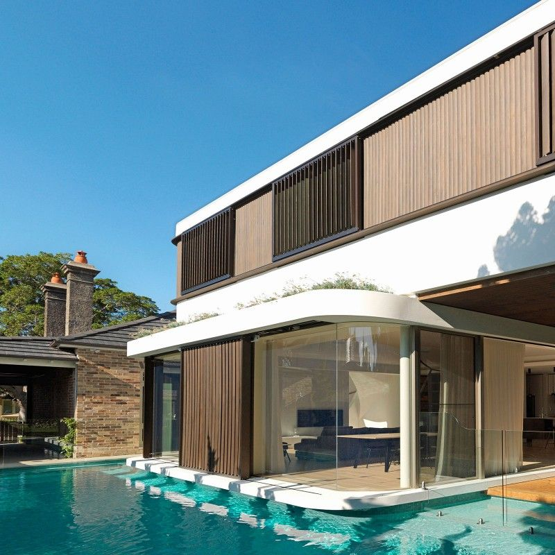 Modern Architectural Forms project - the pool house] the swimming pool forms a moat around