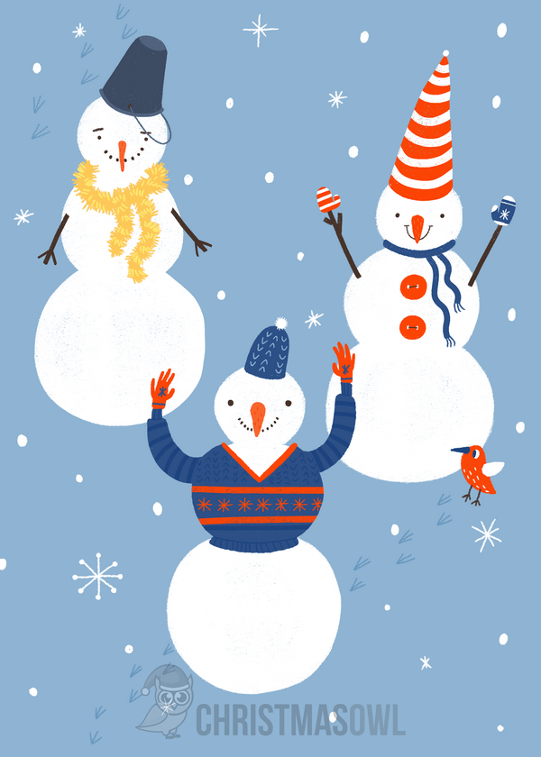 Free Christmas card featuring three snowmen Get the card at https