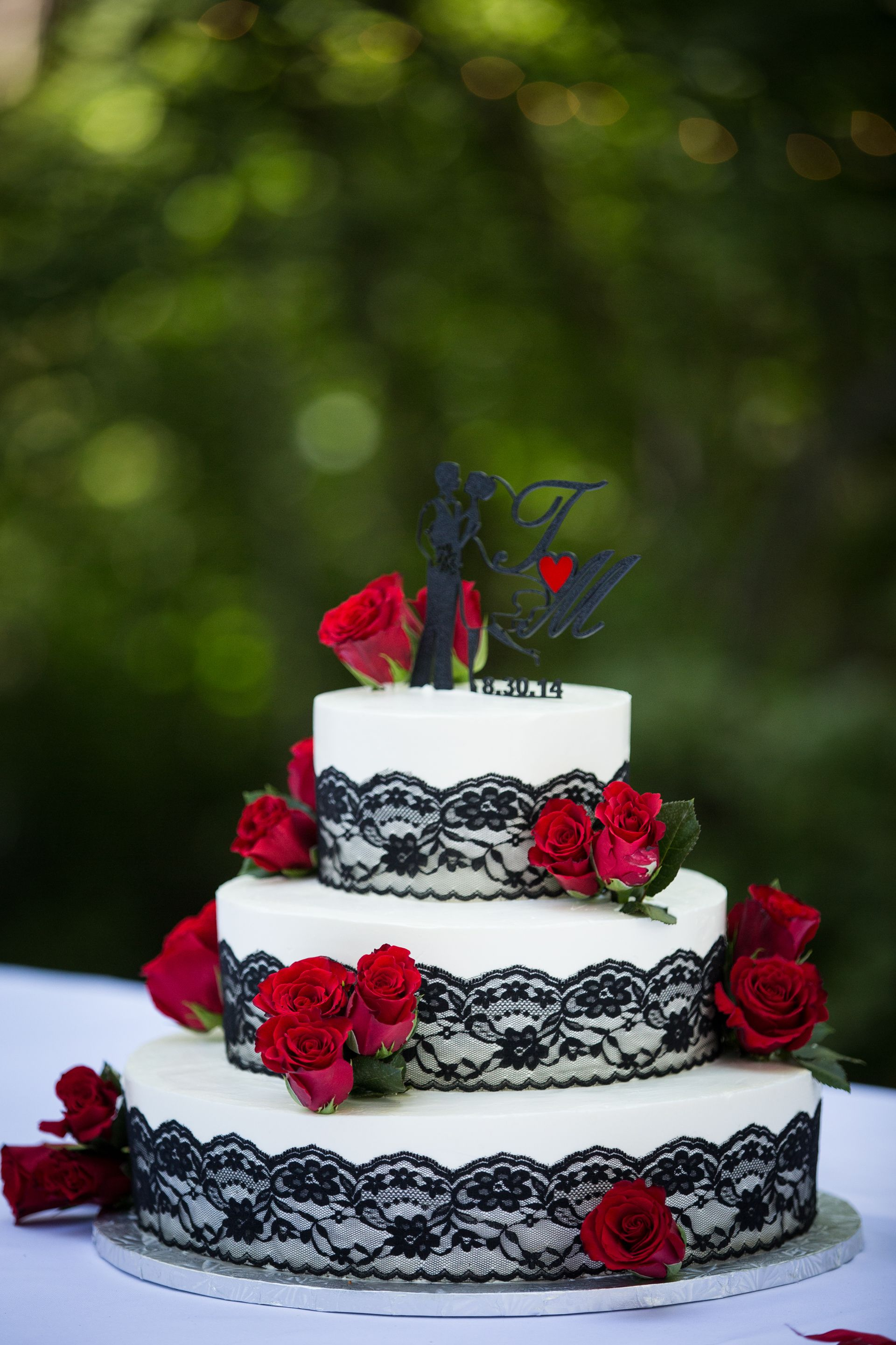 Black Lace Red Rose Wedding Cake | Wedding Cakes - Final Options ...