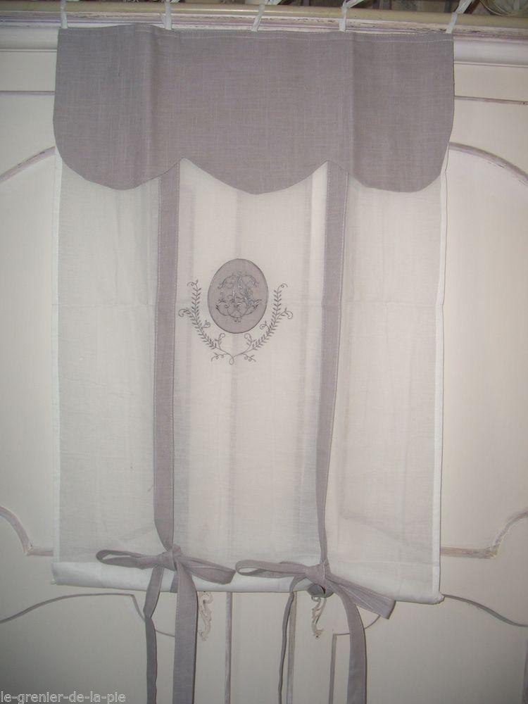 Rideau store enrouleur tissu gris & blanc cantonnière & broderie ...