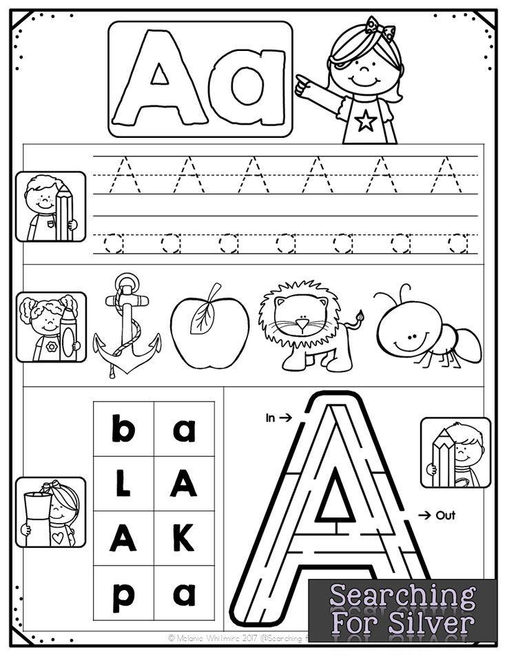 Alphabet Practice AZ Handwriting, Maze and Kindergarten