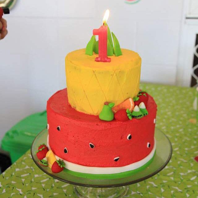 Tuttifruity cake first birthday fruit party watermelon pineapple
