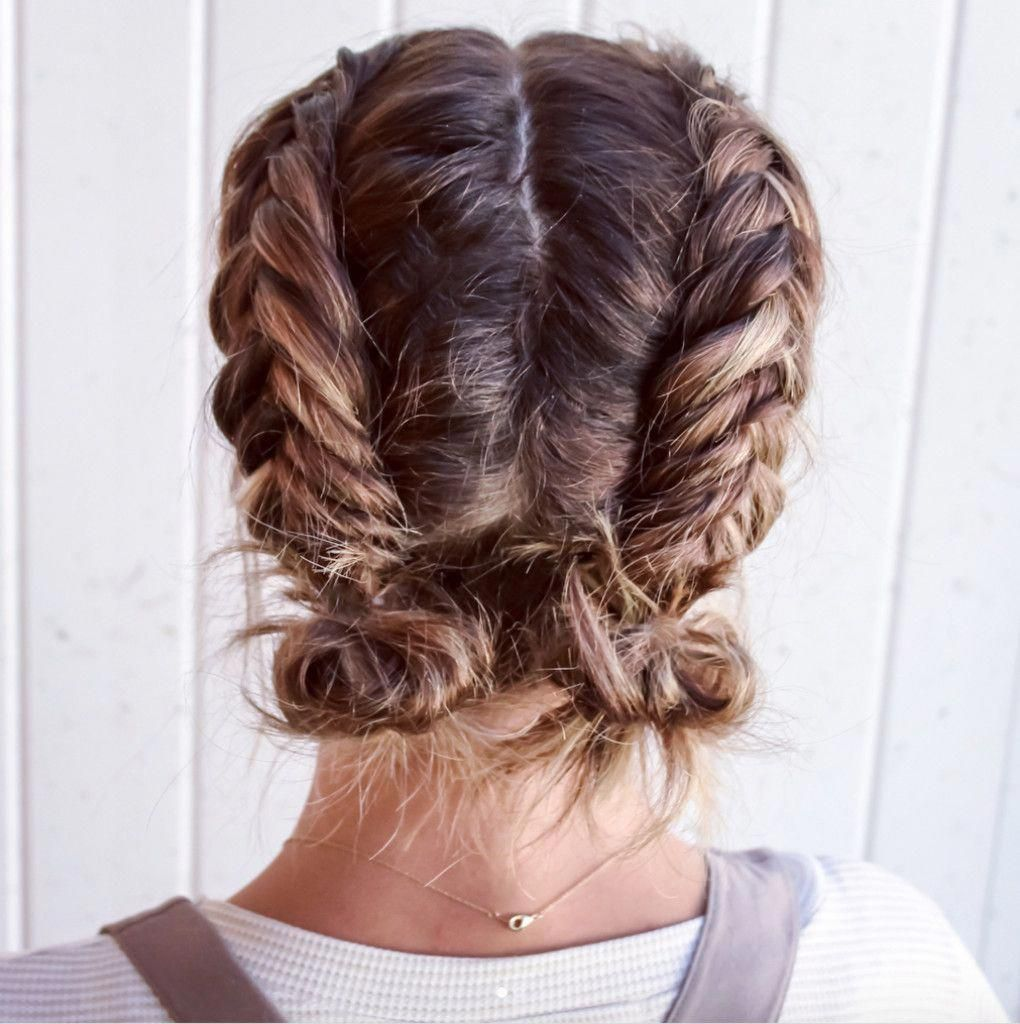 Double Dutch Fishtail Buns Cute Summer And Back To School Hairstyle Much These Doubl Braids For Short Hair Short Hair Styles Cute Hairstyles For Short Hair