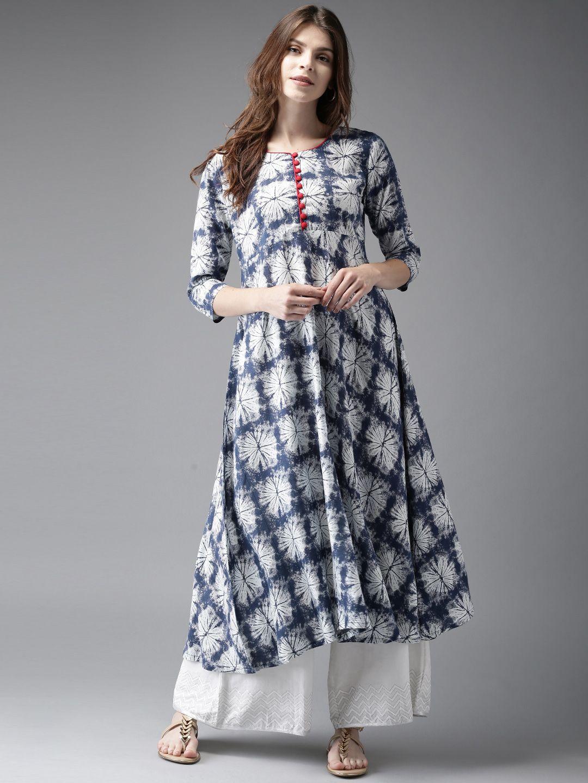 Bollywood Dress Indian Cotton Anarkali Kurta Printed Navy Blue Round Neck