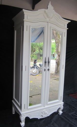 BESPOKE White Or Antique Cream Double Door Rococo  · Wardrobe With Mirror Armoire ...