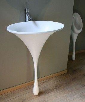 Unique Corner Pedestal Sinks for Bathrooms.  Definitely unique, but not sure I like it