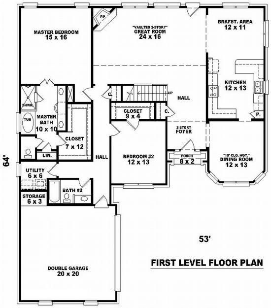 House Plan 053-01219 - French Country Plan 2,731 Square Feet, 4