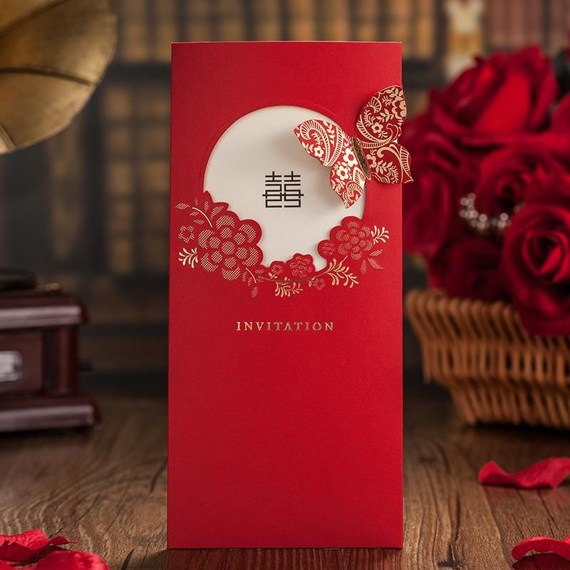 Asian Theme Garden Flower Butterfly Red Wedding Invitation Card