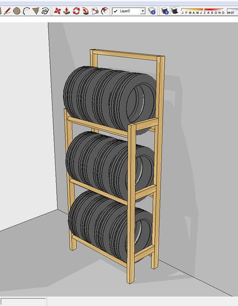cheap and easy to build tire rack renovations. Black Bedroom Furniture Sets. Home Design Ideas