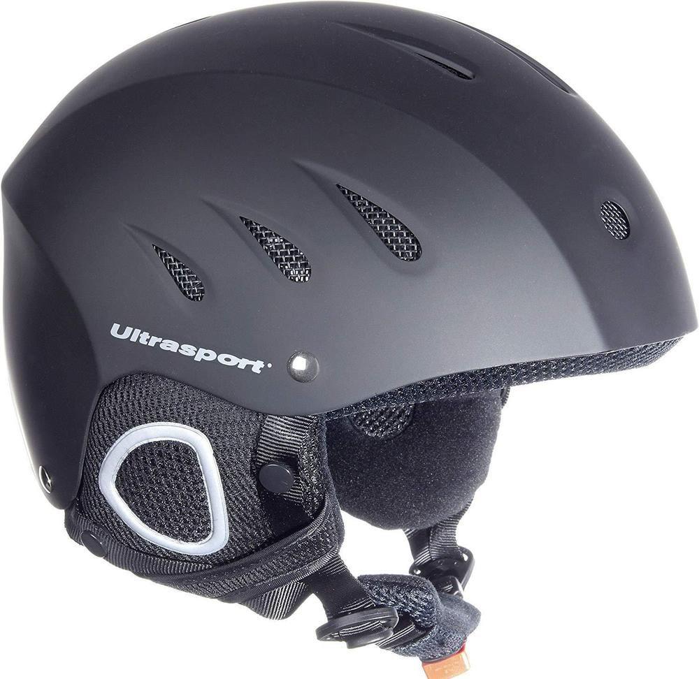 Black ski snowboard helmet padded chin strap with fastener
