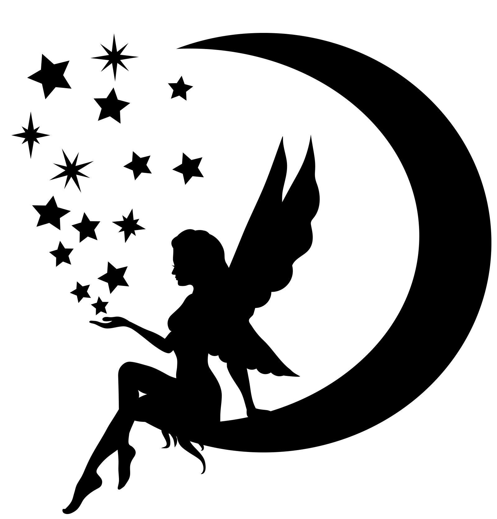 Silhouette Fairy Sitting On Moon