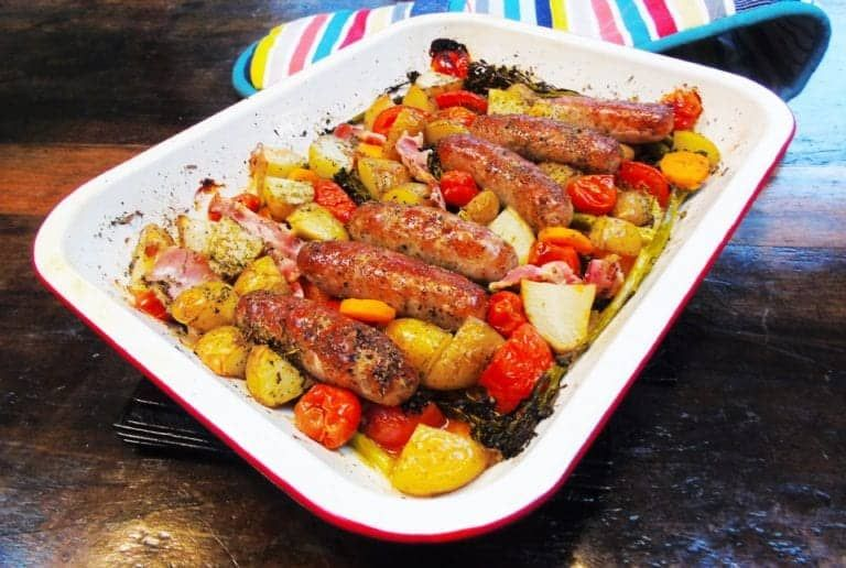 Seriously Simple Sausage & Bacon Traybake