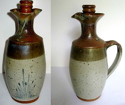 """Art Pottery Wine Jug with Screw Top Stopper 12"""" Artist Signed """"Hay"""".  What makes this so unique is the screw top / stopper, which you never see in pottery."""