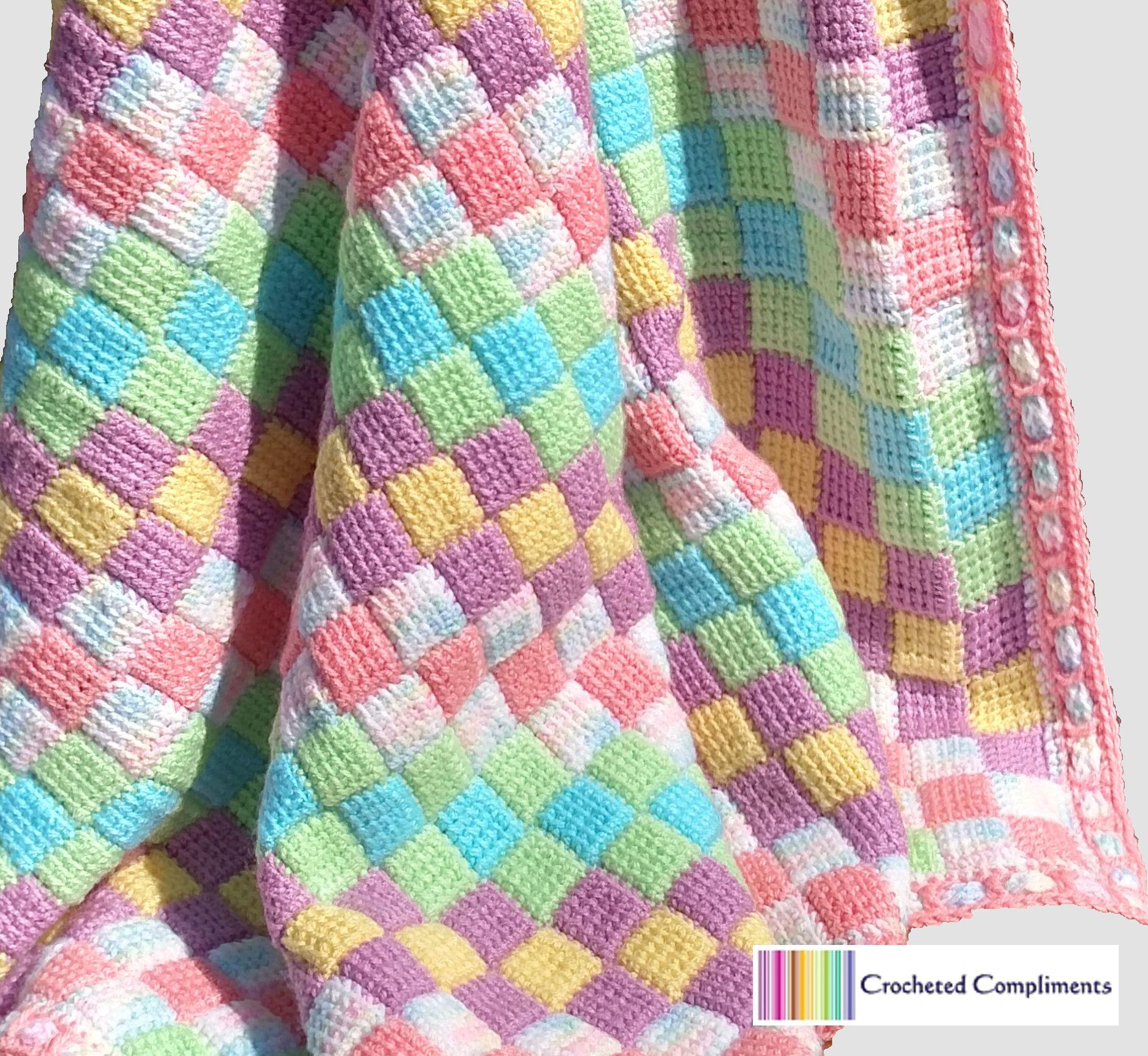 CrochetedCompliments.com Tunisian crochet entrelac baby blanket ...