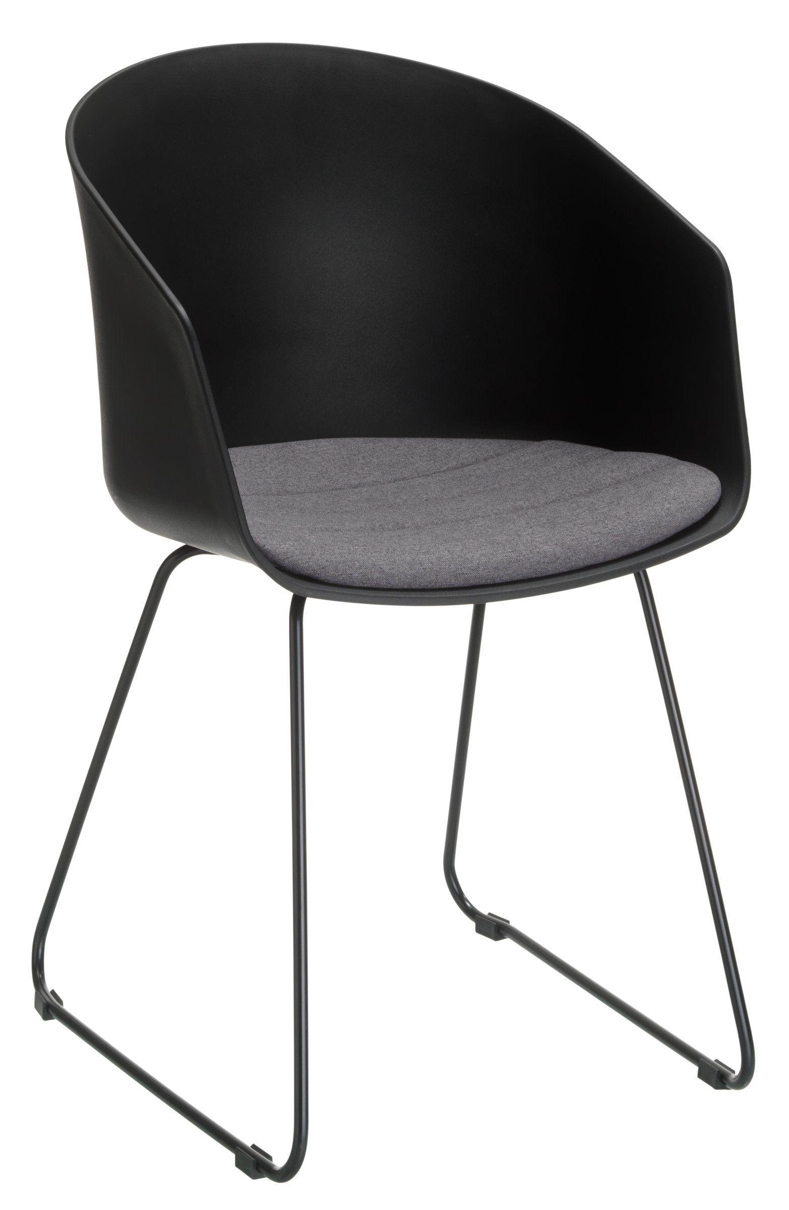 Stuhl TUSCO, Kunststoffschale schwarz,Sitzkissen Stoff anthrazit ...