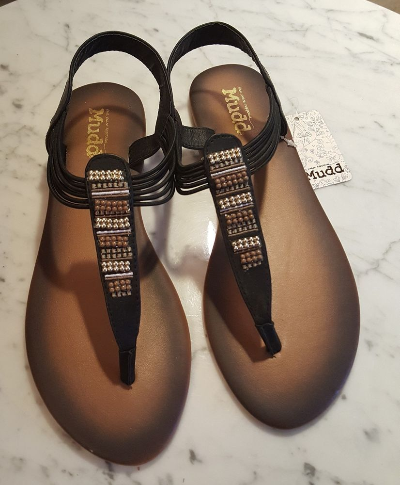 b2c470da49d Mudd Black Beaded Sandals Size L 9-10 NWT  MUDD  Sandals