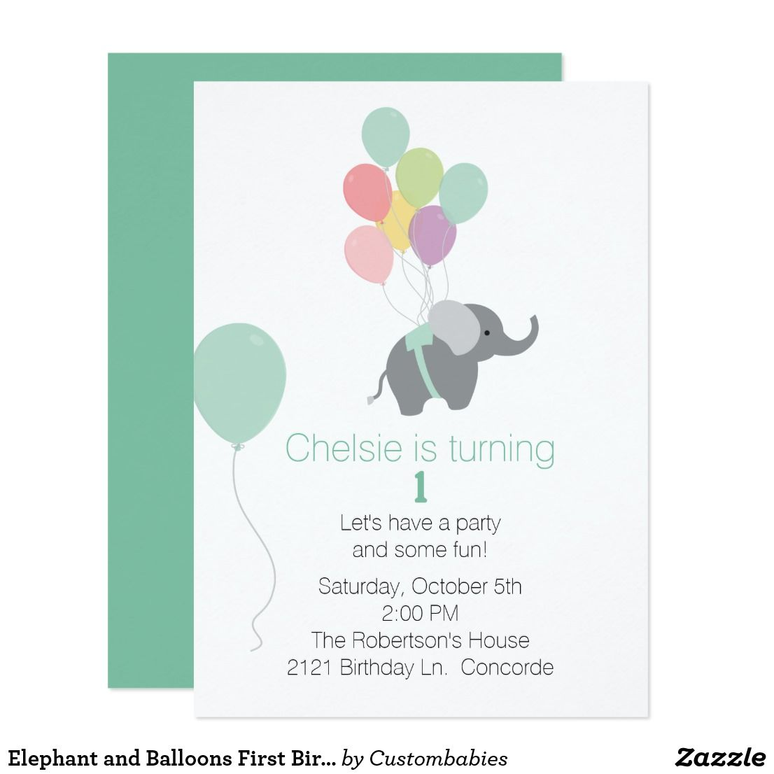 Elephant and balloons first birthday invitation elephant and balloons first birthday invitation cute babys first birthday party invitation done in white stopboris Gallery