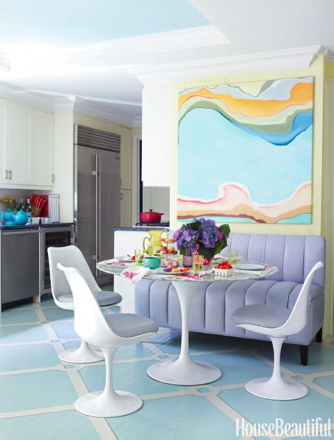 In the kitchen of this New York apartment, designers Celerie Kemble and Caroline Irvin of Kemble Interiors do pastels in a modern way. The floors were painted in a trellis pattern by Christopher Rollinson Design and the banquette and Saarinen Tulip chairs are covered in Kemble's Valtekz Torello faux leather for Valley Forge Fabrics. Try it at home:  Update your powder room with a fresh set of towels and a small rug in these shades.