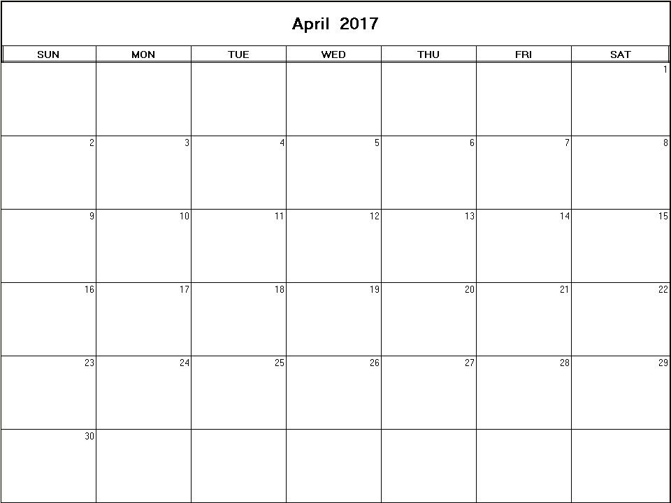 Printable Blank Calendar Image For April   Printables