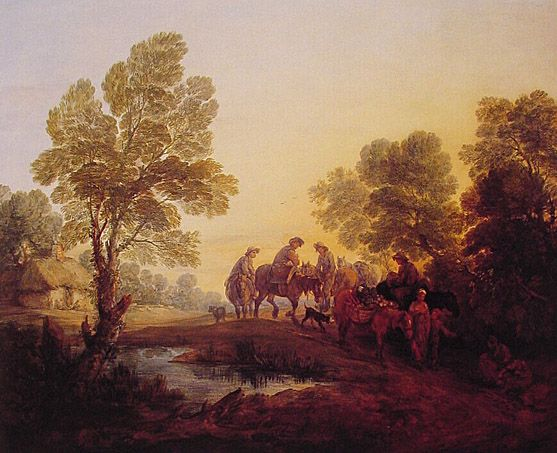 Evening Landscape Peasants and Mounted Figures: ca 1768-71, Thomas Gainsborough