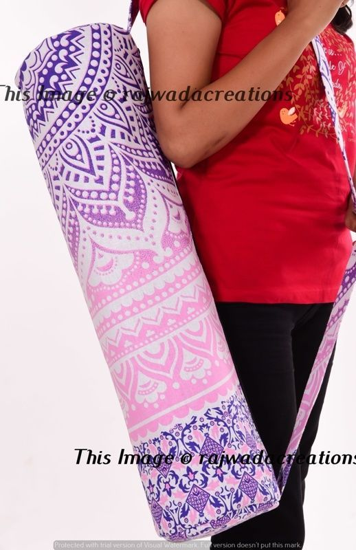 Handmade Mandala Zodiac Indian Large Yoga Mat Carrier Bag with Shoulder Strap US
