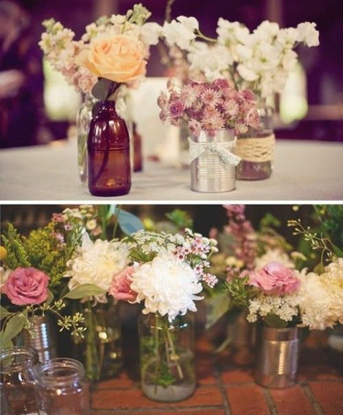 No traditional wedding is complete without pretty flowers. These petite arrangements would make perfect table decorations