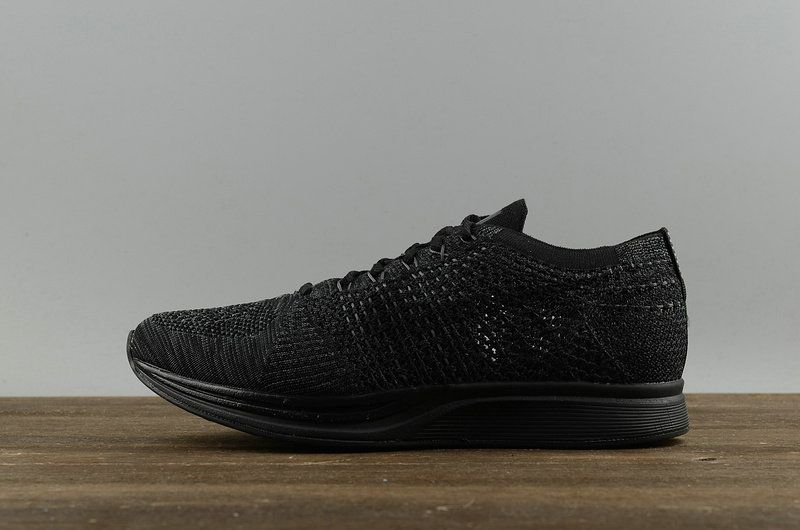 Newest Nike Flyknit Racer Casual 2018 Running Shoes 526628-009 Spring  Summer Triple Black Noir Youth Big Boys Shoes b853f047fe4f