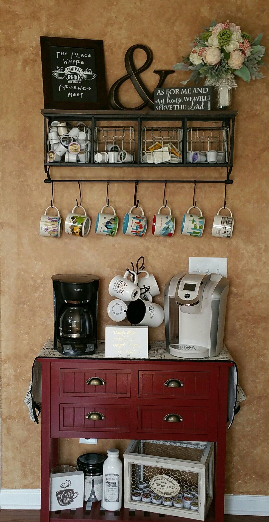 Love Our Upgraded Our Coffee Bar Table Kirklands Wall Shelf Hobby Lobby Friends Art Etsy Flowers Michae Coffee Bars In Kitchen Coffee Bar Home Coffee Bar